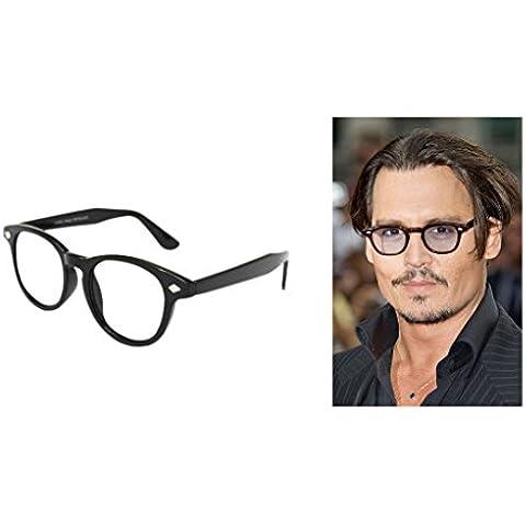 Nuovo Nero VTG Telaio Uomo Donna Lenti Trasparenti Occhiali Depp VTG 50da Johnny Aviator Occhiali Frame per uomini e donne occhiali da sole