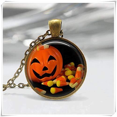 y Halloween-Halskette, Halloween-Schmuck, Kürbis-Schmuck, Kürbis-Halskette, Glas-Fliesen, Süßigkeiten-Schmuck ()
