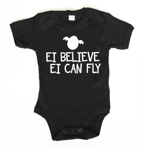 ::: EI BELIEVE ::: Baby Body, Schwarz mit weißem Aufdruck, 12-18 (Bunny Baby Kostüm Oster)