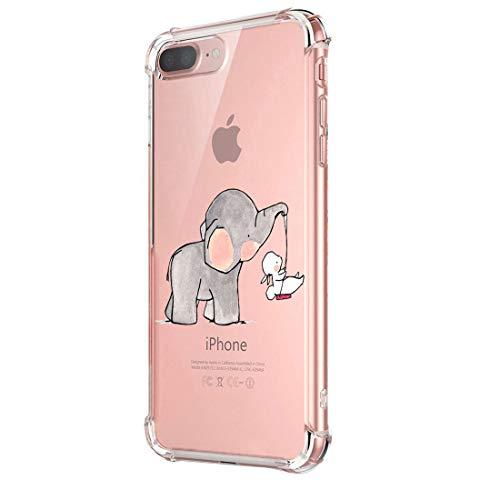 Funda iPhone 8 Carcasa Silicona Transparente Protector TPU Airbag Anti-Choque Ultra-Delgado Anti-arañazos Case para Teléfono Apple iPhone 8 Plus Caso Caja (iPhone 8 Plus, Patrón 05)