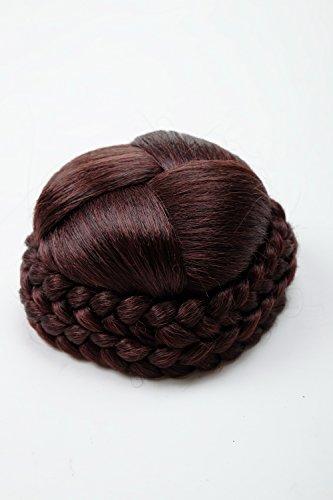 WIG ME UP - N796-2+33/35M Dutt Haarteil aufwendig geflochten Haarknoten Tracht Steck-Kamm Braun Schwarz Mahagoni Rotbraun Mix