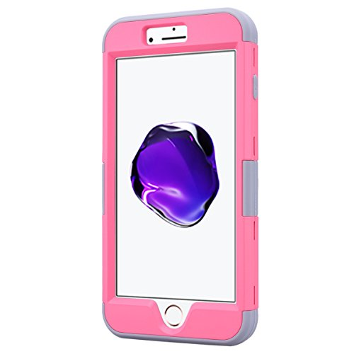 Coque iPhone 7 Plus, Etui iPhone 7 Plus Tough Armor, GrandEver Full Body Back Cover 3in1 Defender Housse Silicone Souple + Hard Plastique Etui Cases Heavy Duty Protection Dual Layer Protective Housse  Rose