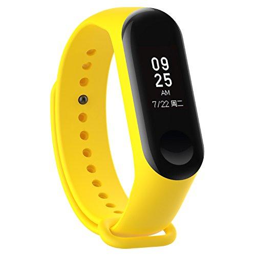 XIHAMA - Correa de Silicona Suave de Repuesto para Reloj Deportivo Inteligente Xiaomi Mi Band 3 (Amarillo)