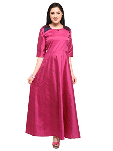 Kanchnar Women's Poly Silk (Two Tone Silk) Plain Kurti (197K18-L, Red)