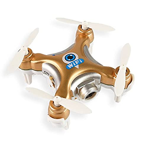 Cheerson CX-10W 4CH 6-Axis Nano Quadcopter,2.4GHz iOS / Android APP Télécommande RC, Drone with WiFi FPV HD Caméra (Or)
