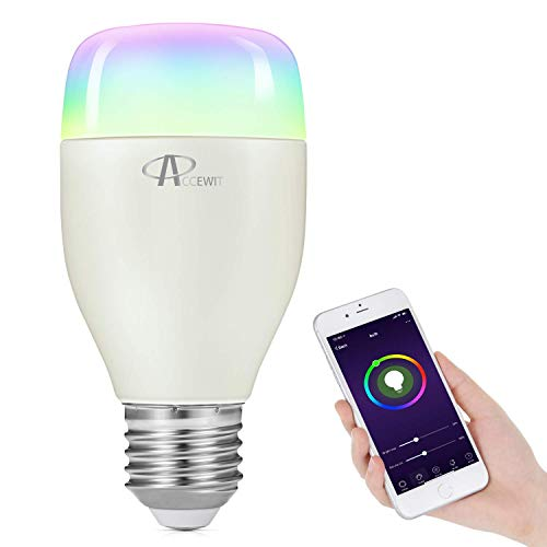 Wifi Smart Birne, ACCEWIT Wlan LED Dimmbar RGBW Glühbirne 7W E27 Smart Lampe