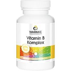 Vitamina B Complex – con todas las vitaminas B esenciales – Productos para la salud Warnke – 100 cápsulas – artículo 100% Vegetariano – sin levadura – 1 pack / 62g