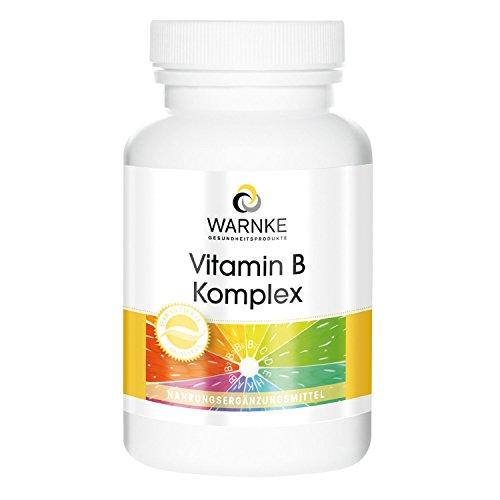 Vitamina B Complex – con todas las vitaminas B esenciales – Productos para la salud Warnke – 250 cápsulas – artículo 100% Vegetariano – sin levadura – 1 pack / 155g