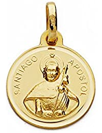Medalla oro 18k Santiago Apóstol bisel liso 14mm. [AA1939]