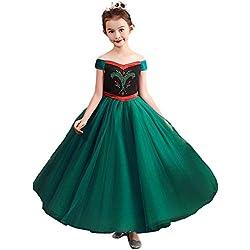 CQDY Disfraz de Princesa Anna de Frozen Anna niñas, Disfraz de Elsa Anna para Fiesta de coronación de Halloween, Cosplay, Disfraz de Princesa
