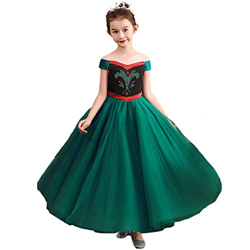 CQDY Mädchen Anna Kleid Frozen Anna Deluxe Prinzessin Kostüm ELSA Anna Krönungsparty Kleid Halloween Cosplay Fancy Party Outfit Kostüm Prinzessin Dress up (Elsa Und Frozen Anna Kostüme)