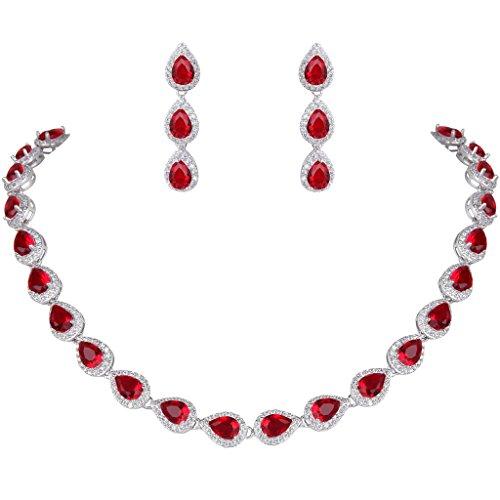 Ever Faith Charme Prong completa Luglio Birthstone insieme dei monili d'argento-tono colore rubino N06161-7