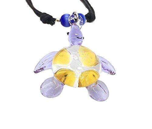 Hand Art Glass, Handmade Schildkröte Art Glas geblasen Tier Figur Anhänger Halskette Schmuck–Modell, von Amata Kufu Elegant. (N0054)