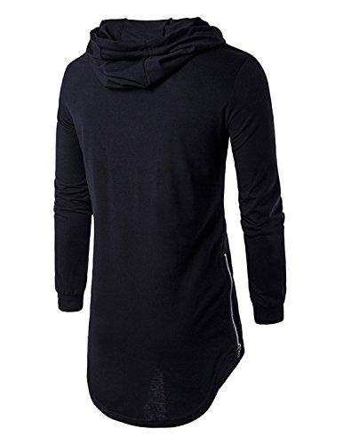 YCHENG Herren Hip Hop Langarmshirt mit Kapuze Lange Sweatshirts Hoodies Shirts Schwarz