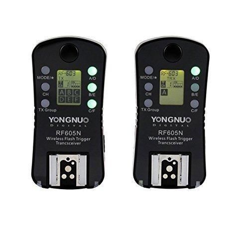 Yongnuo RF605C 2.4GHz FSK 16 canali trigger senza filo doppio-LCD Display / visualizzazioni trasmittente/ricevitore + WINGONEER softbox per canon 60D, 600D, 550D, 500D, 1000D, 450D, 400D, 350D, 300D EOS 5DII 5D 7D 50D 40D 30D 20D 10D EOS1V EOS3 EOS1D/1DS/1DSMK II 1DSMK III EOSD30 EOS10D/20D/30D/40D/50D/5D/5DII/7D/EOSD60 AS CANON RS-80N3