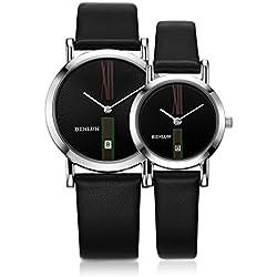 binlun bl0052ts Lover 's Japanisches Quarz-kein Lärm Uhr mit Datum für Frau und Mann, Fall Durchmesser: 3,4cm und 2,5cm