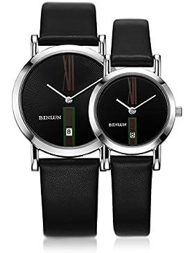 BINLUN Paar Uhren Lover 's Quarz Silber Armbanduhr Für Herren Damen mit Schwarz Kalbsleder Leder Datum Minimalistisch...