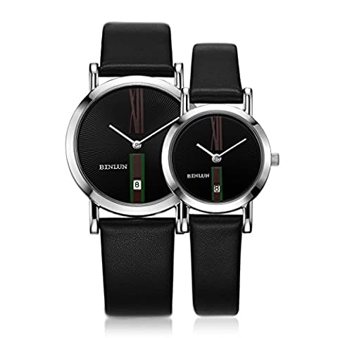 Binlun Lover's Japanese Quartz Small Bracelet Date Watch for Woman and Man Anniversary Dating Marriage