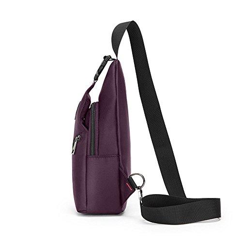 Herren wasserdicht verschleißfest Brusttasche Schleuder Tasche für Sport Outdoor Reisen Violett