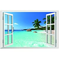 DAILY Removable Beach Sea 3d Window View Scenery Wall Sticker Decor Decal by Daily