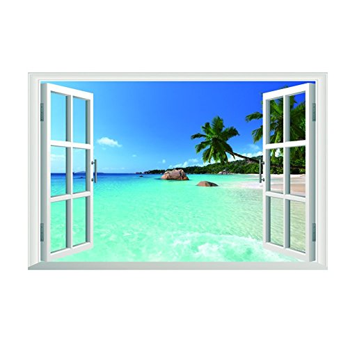Removable Beach Sea 3d Window View Scenery Wall Sticker Decor Decal