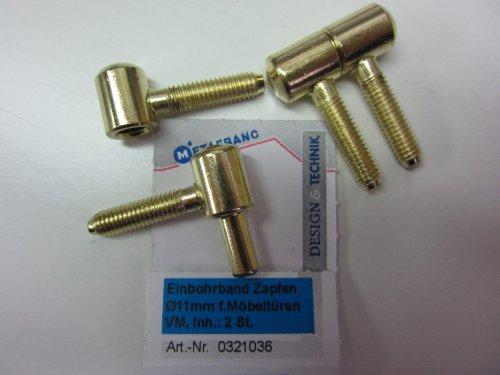 Preisvergleich Produktbild Metafranc Einbohrband,  Zapfen ø 11 mm,  für Möbeltüren,  Metall vermessingt,  2 Stück,  321036