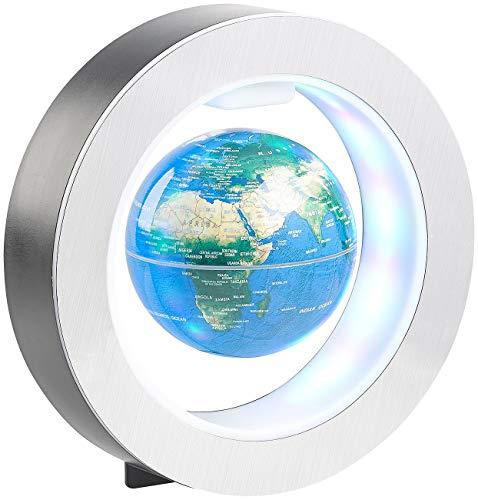 infactory Weltkugel: Freischwebender 10-cm-Globus in Magnet-Ring mit bunter LED-Beleuchtung (Erdkugel)