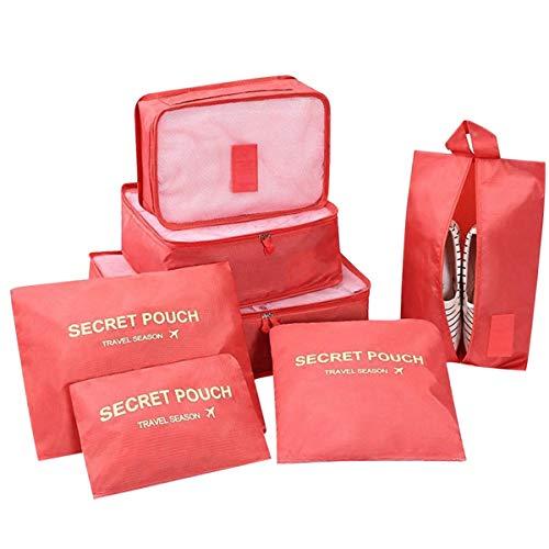 DoGeek Kleidertaschen Packing Cubes Satz von 7 Reise Kleidertaschen Verpackungswürfel Organizer Ideal für Seesäcke, Handgepäck und Rucksäcke-Grau (Rot-7, 7pcs)