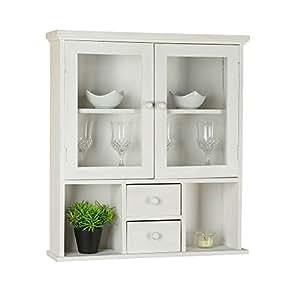 wandregal vitrine im shabby chic 62 x 56 x 15 cm hxbxt k che haushalt. Black Bedroom Furniture Sets. Home Design Ideas