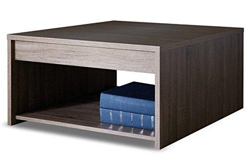 PEGANE Table Basse carrée Coloris chêne foncé - Dim : L 80 x H 40 x P 80 cm