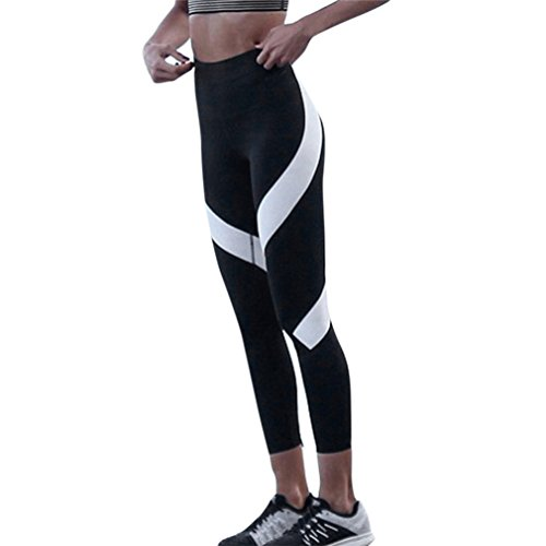 Yoga Leggings Vovotrade ☆☆Womens Spleiß Yoga dünne Workout Gym Leggings Fitness Sport beschnitten Hosen (Schwarz, Size:XL) (Beschnitten Hose Petite)