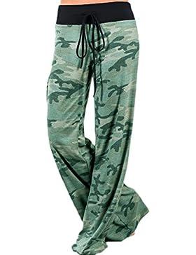 Las Mujeres Verano Casual Estampado Floral Cintura Alta Pantalones Pantalones De Pierna Ancha
