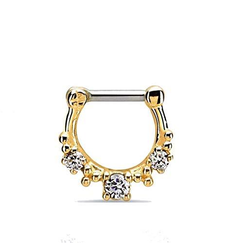 Septum Piercing Gold Clicker echt Silber 18K echt Gold Glitzer 8mm (Echtes Sterling Silber Nase Ringe)
