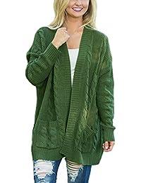13d7e8da69ebf4 Aleumdr Strickjacke Damen Stricken Cardigan V-Ausschnitt Lose Outwear  Strickmantel mit Taschen Kimono Sweaters Langarmshirts