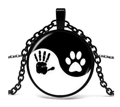 GUHUA Yin und Yang Halskette Haustier Klaue drucken Anhänger Handabdruck Tai Chi Schmuck Tierliebhaber Haustierliebhaber Katze Hund - Handmade Hunde Kostüm