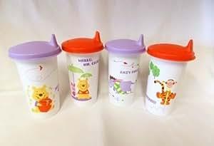 Tupperware Kids Winnie the Pooh 10 Oz Bell Tumbler Set of 4 & Sipper Seals NEW by Tupperware
