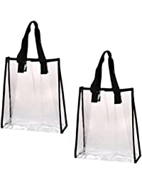 5481262a3b BESTONZON 2 Pcs Environmentally Friendly Handbag Transparent Waterproof PVC  Clear Bag Tote Bag(33x22x10cm)