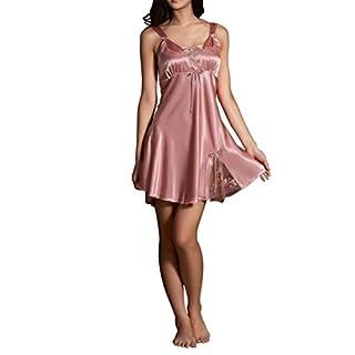 Amybria Frauen Seide Spitze Sommer Kleid Pyjamas Rosa Größe L