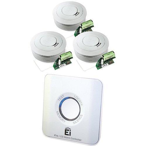 Ei Electronics Ei650RF 10-Jahres-Funkrauchwarnmelder, weiß, 3 Stück + Einknopf-Fernbedienung für...
