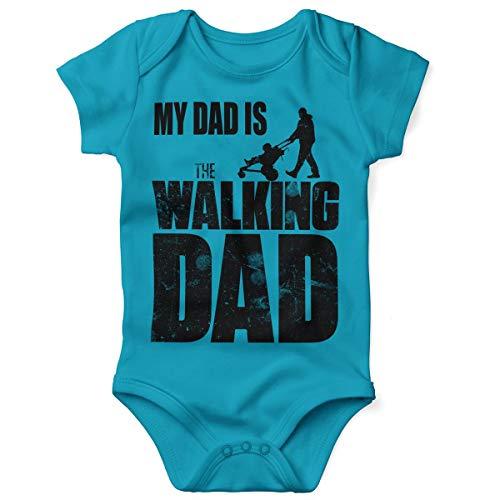 Mikalino Babybody mit Spruch für Jungen Mädchen Unisex Kurzarm My Dad is The Walking Dad | handbedruckt in Deutschland | Handmade with Love, Farbe:Atoll, Grösse:86/92