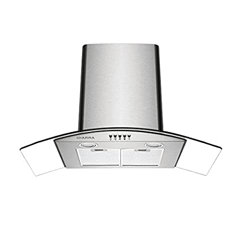 Ciarra 90cm Curved Glass Stainless Steel Chimney Cooker Hood Kitchen Range Hood Extractor Fan
