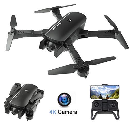 Drohne mit 4K Kamera, 120 ° Weitwinkel Dual Kamera Faltbare Drohne Follow Me WiFi FPV Quadrocopter App-Steuerung One Key Start/Landung Headless Modus