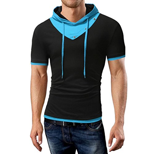 Zarupeng T-Shirt mit Kapuze für Herren, Sommer Stretch Sweatshirt Casual Patchwork T-Shirt Kurzarm Pullover Top Jumper (XL, B)