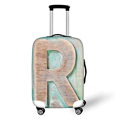 Travel Luggage Cover Suitcase Protector,Letter R,Wooden Alphabet Block Antique Letterpress Theme Grunge Display Print Decorative,Mint Green Pale Brown,for Travel -