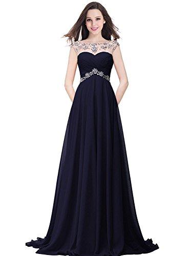 MisShow Damen Elegant Chiffon Abendkleider Ballkleider Partykleid Strass Maxilang Navyblau Gr.38