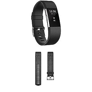 Fitbit Standard Charge 2 Unisex Armband zur Herzfrequenz und Fitnessaufzeichnung, Schwarz, L, FB407SBKL-EU + Sport Band Charge 2 Sportarmband, Black, L