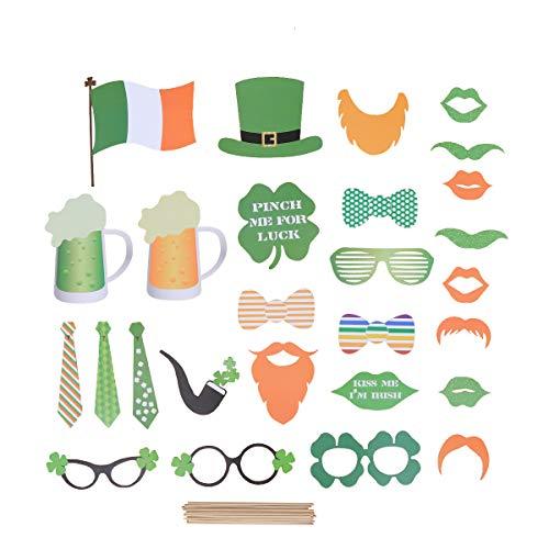 Amosfun St. Patrick Foto Booth Requisiten Kit Irish Day Foto Requisiten DIY Selfie Foto Requisiten Dress Up Kostüm Zubehör 27 ()