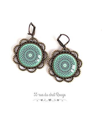Boucles d'oreilles Cabochon esprit Maroc, Bleu tendre, bleu turquoise