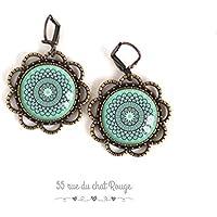 Orecchini Cabochon spirito marocchino, Blu morbido, blu turchese