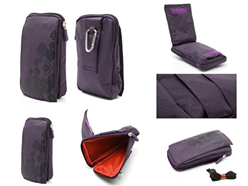 Color Stripes Snap (DFV mobile - Multi-Functional Vertical Stripes Nylon Pouch Bag case Zipper Closing Carabiner for => Starmobile Up Snap > Color Purple (16 x 9.5 cm))